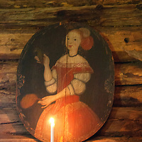 Europe, Norway, Molde. Non-religious art in Romsdal Museum Church in Molde.