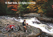 Bear Creek, Bicyclist, Fall Foliage, Poconos, Luzerne Co., PA,