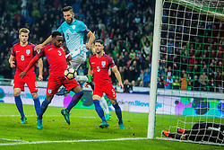 Bostjan Cesar of Slovenia and Joe Hart, Danny Rose, Gary Cahill with Eric Dier of England during football match between National teams of Slovenia and England in Round #3 of FIFA World Cup Russia 2018 qualifications in Group F, on October 11, 2016 in SRC Stozice, Ljubljana, Slovenia. Photo by Grega Valancic / Sportida