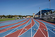 A general view of starting blocks at the track and field stadium at the Ansin Sports Complex, Saturday, April 10, 2021, in Miramar, Fla.