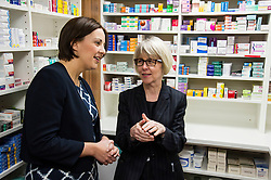 Pictured: Kezia Dugdale was shown the ropes by Amanda Rae, Community Pharmacy Scotland<br /> <br /> The Scottish  Labour leader Kezia Dugdale visited pharmacy in Edinburgh today and took the opportunity to  discuss plans on Scotland's GP situation. <br /> <br /> Ger Harley   EEm 25 April 2016
