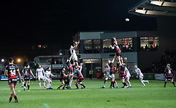Ulster Rugby's Greg Jones claims the line out<br /> <br /> Photographer Simon King/Replay Images<br /> <br /> Guinness Pro14 Round 10 - Dragons v Ulster - Friday 1st December 2017 - Rodney Parade - Newport<br /> <br /> World Copyright © 2017 Replay Images. All rights reserved. info@replayimages.co.uk - www.replayimages.co.uk