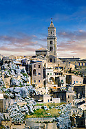 View of the ancient Sassi of Matera area exterior, Basilicata, Italy. <br /> <br /> The area of Matera has been occupied since the Palaeolithic (10th millennium BC) making it one of the oldest continually inhabited settlements in the world. <br /> <br /> The town of Matera was founded by the Roman Lucius Caecilius Metellus in 251 BC and remained a Roman town until  was conquered by the Lombards In AD 664 becoming part of the Duchy of Benevento.  Matera was subject to the power struggles of southern Italy coming under the rule of the Byzantine Roman, the Germans and finally Matera was ruled by the Normans from 1043 until the Aragonese took possession in the 15th century. <br /> <br /> At the ancient heart of Matera are cave dwellings known as Sassi. As the fortunes of Matera failed the sassy became slum dwelling and the appalling living conditions became be the disgrace of Italy. From the 1970's families were forcibly removed from the Sassi and rehoused in the new town of Matera. Today tourism has regenerated Matera and the sassi have been modernised and are lived in again making them probably the longest inhabited houses in the world dating back 9000 years.