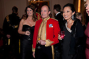 ALEXA JAGO; BRIGADIER SIMON ALLEN; SHEILA MACKINTOSH Charity Dinner in aid of Caring for Courage The Royal Scots Dragoon Guards Afganistan Welfare Appeal. In the presence of the Duke of Kent. The Royal Hospital, Chaelsea. London. 20 October 2011. <br /> <br />  , -DO NOT ARCHIVE-© Copyright Photograph by Dafydd Jones. 248 Clapham Rd. London SW9 0PZ. Tel 0207 820 0771. www.dafjones.com.