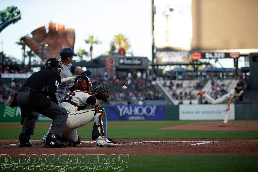San Francisco Giants starting pitcher Dereck Rodriguez (57) delivers against the San Diego Padres during the second inning of a baseball game, Thursday, Aug. 29, 2019, in San Francisco. (AP Photo/D. Ross Cameron)