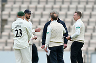 James Vince of Hampshire and Joe Leach of Worcestershire in the middle with the umpires for the toss which didn't happen as Worcestershire decided exercise their right to bowl first during the Specsavers County Champ Div 1 match between Hampshire County Cricket Club and Worcestershire County Cricket Club at the Ageas Bowl, Southampton, United Kingdom on 13 April 2018. Picture by Graham Hunt.