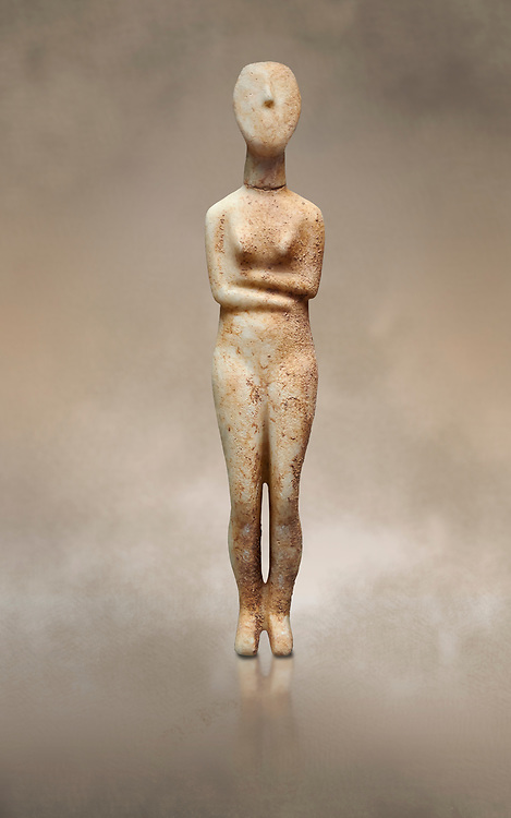 Marble female Cycladic statue figurine with folded arms of the Spedos type. Early Cycladic Period II (2800-2300 BC) from Stavros cemetery, Amorgos, grave 5, Cat No 4719. National Archaeological Museum, Athens. <br /> <br /> This Cycladic statue figurine is of the Spedos type standing on tip tie with bended knees and arms folded under the breasts with head raiised. .<br /> <br /> If you prefer to buy from our ALAMY PHOTO LIBRARY  Collection visit : https://www.alamy.com/portfolio/paul-williams-funkystock/cycladic-art-artefacts.html Type into the LOWER SEARCH WITHIN GALLERY box to refine search by adding background colour, place, museum etc<br /> <br /> Visit our CYCLADIC CIVILISATIONS PHOTO COLLECTIONS for more photos to download or buy as wall art prints https://funkystock.photoshelter.com/gallery-collection/Cycladic-civilisation-Ancient-Greek-Artefacts-art-Photos-Pictures-Images/C0000CmevVvnC.XU