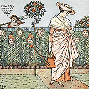 How does my Lady's  garden grow?.  Illustration by Walter Crane (1845-1915) for the nursery rhyme. Colour-printed wood engraving.