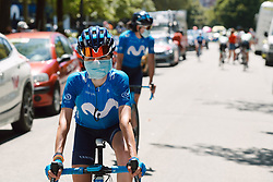 Eider Merino (ESP) arrives at the stage for the 2020 Clasica Feminas De Navarra, a 122.9 km road race starting and finishing in Pamplona, Spain on July 24, 2020. Photo by Sean Robinson/velofocus.com