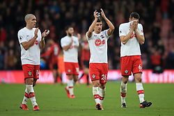 3 December 2017 -  Premier League - Bournemouth v Southampton - Oriol Romeu, Jeremy Pied and Wesley Hoedt of Southampton react as they applaud the fans - Photo: Marc Atkins/Offside