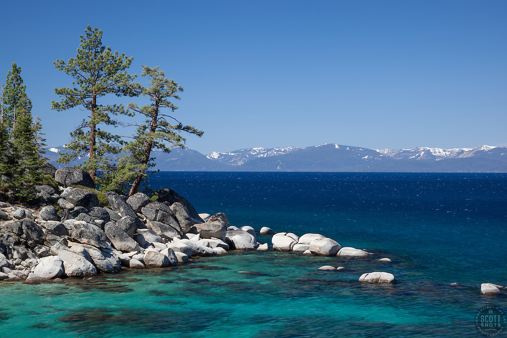 """""""Boulders at Lake Tahoe 43"""" - Photograph of boulders along the East shore of a very blue Lake Tahoe, just north of Sand Harbor."""