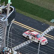 Trevor Bayne driving the Motorcraft/Quick Lane Ford wins the Daytona 500 Sprint Cup race at Daytona International Speedway on February 20, 2011 in Daytona Beach, Florida. (AP Photo/Alex Menendez)