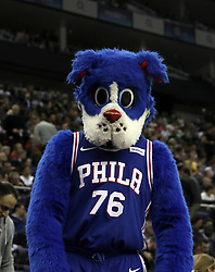 Philadelphia 76ers mascot Franklin the Dog during the NBA London Game 2018 at the O2 Arena, London. PRESS ASSOCIATION Photo. Picture date: Thursday January 11, 2018. See PA story BASKETBALL London. Photo credit should read: Simon Cooper/PA Wire. RESTRICTIONS: Editorial use only, No commercial use without prior permission