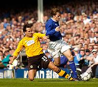 Photo. Jed Wee, Digitalsport<br /> NORWAY ONLY<br /> Everton v Blackburn Rovers, FA Barclaycard Premiership, 24/04/2004.<br /> Blackburn's Martin Andresen (L) tackles Everton's Kevin Kilbane.