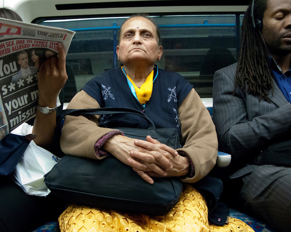 Portrait of an Indian women travelling on the London Underground Network