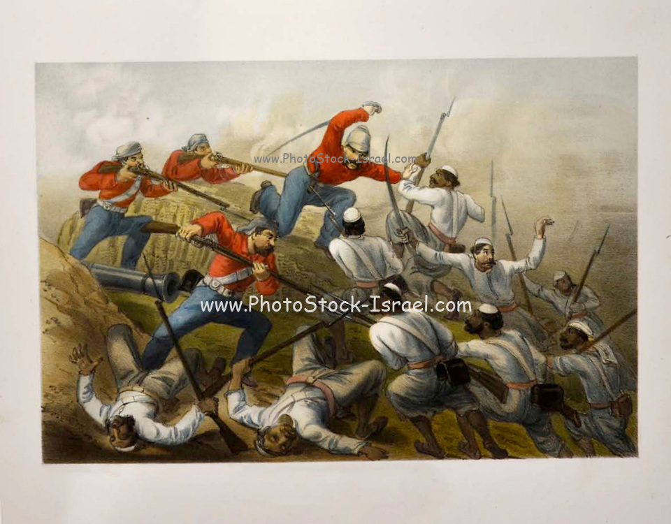 Repulse of a Sortie Lithograph from the book Campaign in India 1857-58 Illustrating the military operations before Delhi ; 26 Hand coloured Lithographed plates. by George Francklin Atkinson Published by Day & Son Lithographers to the Queen in 1859