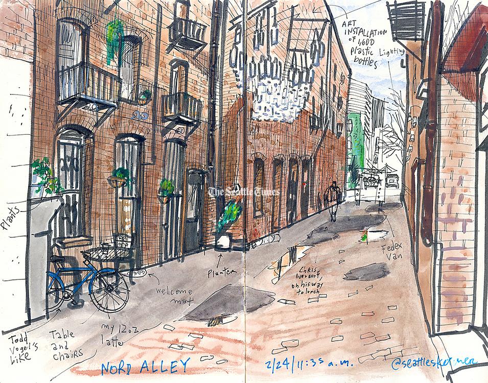 Downtown alley leaves dark days behind, welcomes pedestrians. (Gabriel Campanario / The Seattle Times)