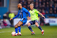 Gillingham FC forward Josh Parker (14) during the The FA Cup 3rd round match between Gillingham and Cardiff City at the MEMS Priestfield Stadium, Gillingham, England on 5 January 2019. Photo by Martin Cole.