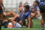 Warriors Roger Tuivasa-Sheck is tackled in the NRL Trial, Vodafone Warriors v Wests Tigers, Rotorua Stadium, Rotorua, Sunday, March 01, 2020. Copyright photo: Kerry Marshall / www.photosport.nz