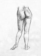 Sketchbook drawing of naked female figure