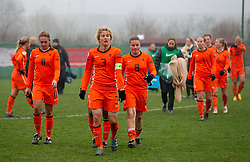 Lieke Martens, Daphne Koster, Sherida Spitse of Netherlands after the football match between Women national teams of Slovenia and Netherlands in 4th Round of EURO 2013 Qualifications, on November 19, 2011 in Ivancna Gorica, Slovenia. Netherlands defeated Slovenia 2-0. (Photo By Vid Ponikvar / Sportida.com)