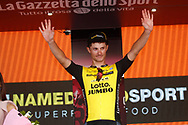 Podium Enrico Battaglin (ITA - Team LottoNL - Jumbo) winner celebration during the 101th Tour of Italy, Giro d'Italia 2018, stage 5, Agrigento - Santa Ninfa 152 km on May 9, 2018 in Italy - Photo Luca Bettini / BettiniPhoto / ProSportsImages / DPPI