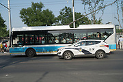Electric bus<br /><br />Electric vehicles are everywhere on China's roads, from battery powered pedal bikes to hybrid cars, electric buses and all types of service vehicles.