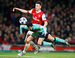 16.02.2011, Emirates Stadium, London, ENG, UEFA CL, FC Arsenal vs FC Barcelona, im Bild Arsenal's Laurent Koscielny  seems to push Barcelona's Pedro Rodriguezg on the edge of penalty box  in Arsenal vs Barcelona for the UCL  ,Round of last 16, at the Emirates Stadium in London on 16/02/2011, EXPA Pictures © 2011, PhotoCredit: EXPA/ IPS/ Kieran Galvin +++++ ATTENTION - OUT OF ENGLAND/GBR and France/ FRA +++++