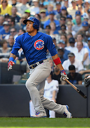June 13, 2018 - Milwaukee, WI, U.S. - MILWAUKEE, WI - JUNE 13: Chicago Cubs Shortstop Addison Russell (27) hits a fly ball during a MLB game between the Milwaukee Brewers and Chicago Cubs on June 13, 2018 at Miller Park in Milwaukee, WI. The Brewers defeated the Cubs 1-0.(Photo by Nick Wosika/Icon Sportswire) (Credit Image: © Nick Wosika/Icon SMI via ZUMA Press)