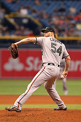 May 26, 2018 - St. Petersburg, FL, U.S. - ST. PETERSBURG, FL - MAY 26: Andrew Cashner (54) of the Orioles delivers a pitch to the plate during the MLB regular season game between the Baltimore Orioles and the Tampa Bay Rays on May 26, 2018, at Tropicana Field in St. Petersburg, FL. (Photo by Cliff Welch/Icon Sportswire) (Credit Image: © Cliff Welch/Icon SMI via ZUMA Press)