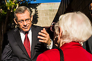 09 NOVEMBER 2013 - PHOENIX, AZ: US Representative DAVID SCHWEIKERT (R-AZ), talks to a constituent in front of his district office in Scottsdale. Congressman Schweikert represents Arizona's 6th Congressional District. Most of the district is in Scottsdale, a wealthy suburb of Phoenix and one of the wealthiest cities in the United States. Schweikert is a staunch conservative and popular with the Tea Party. He supported the government shutdown in October.    PHOTO BY JACK KURTZ