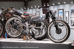 "Tim Harney's 1951 250cc BSA C11 in Michael Lichter's Motorcycles as Art annual exhibition titled ""The Naked Truth"" at the Buffalo Chip Gallery during the 75th Annual Sturgis Black Hills Motorcycle Rally.  SD, USA.  August 4, 2015.  Photography ©2015 Michael Lichter."