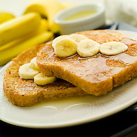 Banana french toast with syrup
