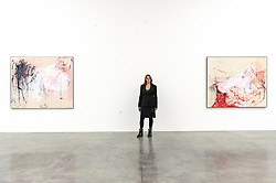 """© Licensed to London News Pictures. 04/02/2019. London, UK. Artist Tracey Emin Tang poses with her painting titled """"The Memory of your Birth"""" 2018 (L) and painting titled """"Rape"""" 2018 (R). The art work is showing as part of the 'A Fortnight of Tears Exhibition' at The White Cube gallery. Editorial usage only. Photo credit: Ray Tang/LNP"""