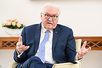 02 FEB 2021, BERLIN/GERMANY:<br /> Frank-Walter Steinmeier, Bundespraesident, waehrend einem Interview, Robert-Blum-Saal, Schloss Bellevue<br /> IMAGE: 20210202-01-041<br /> KEYWORDS: BUndespräsident