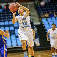 021815  Adron Gardner/Independent<br /> <br /> Window Rock Scout LaTanya Dodson (20) attempts the final shot of the game against the Palo Verde Titans at the Fighting Scout Event Center in Fort Defiance Wednesday.
