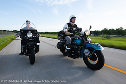 Jeff Milburn (L) and Chris Tribbey riding in the Cross Country Chase motorcycle endurance run from Sault Sainte Marie, MI to Key West, FL. (for vintage bikes from 1930-1948). Stage-9 covered 259 miles from Lakeland, FL to Miami, FL USA. Saturday, September 14, 2019. Photography ©2019 Michael Lichter.