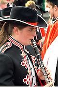 Cinco de Mayo parade participant playing clarinet age 16.  St Paul Minnesota USA
