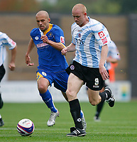 Photo: Steve Bond.<br /> Shrewsbury Town v Chesterfield. Coca Cola League 2. 13/10/2007. Derek Niven (L) sets off pursued by david Hunt