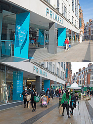 © Licensed to London News Pictures 12/04/2021. Bromley, UK. Comparison images Primark. Yesterday 11.04.2021 a covid restricted empty Bromley High Street around Primark and today 12.04.2021 a busy Primark Store in Bromley High Street in South East London this morning as non-essential shops re-open after four months closed because of the Coronavirus outbreak. Photo credit:Grant Falvey/LNP **Use requires payment for two pictures**