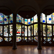Stained Glass In The House of Batllo, Barcelona, Spain
