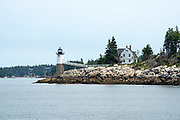 The old Isle au Haut lighthouse is now an inn, Isle au Haut, Maine.