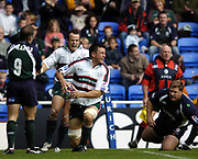 Reading, Berkshire, UK., 19th September 2004, Zurich Premiership Rugby, London Irish vs Leicester Tigers, Madejski Stadium, England, [Mandatory Credit: Pete Spurrier/Intersport Images],<br /> <br /> Leicester Tigers No.8 Martin Corry, celebrated after scoring an opening minute try.