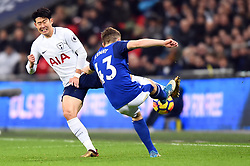 January 13, 2018 - London, England, United Kingdom - Everton's Jonjoe Kenny clears from Tottenham Hotspur's Heung-Min Son during the Premier League match between Tottenham Hotspur against Everton at Wembley Stadium, London  England on 13 Jan 2018  (Credit Image: © Kieran Galvin/NurPhoto via ZUMA Press)