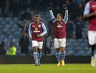 Gabriel Agbonlahor of Aston Villa celebrates his goal with Chvrles Nzogbia - Football - Barclays Premier League - Aston Villa vs Southampton - Villa Park Birmingham  - Season 2014/2015 - 24th November 2015 - Photo Malcolm Couzens /Sportimage