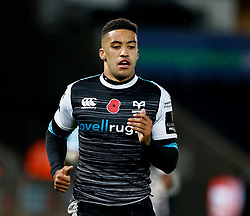 2nd November, Liberty Stadium , Swansea, Wales ; Guinness pro 14's Ospreys Rugby v Glasgow Warriors ;  Keelan Giles of Ospreys<br /> <br /> Credit: Simon King/News Images<br /> <br /> Photographer Simon King/Replay Images<br /> <br /> Guinness PRO14 Round 8 - Ospreys v Glasgow Warriors - Friday 2nd November 2018 - Liberty Stadium - Swansea<br /> <br /> World Copyright © Replay Images . All rights reserved. info@replayimages.co.uk - http://replayimages.co.uk