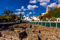 Roman fish salting factory ruins (tanks that held fish sauce), (Factoria de Salazan de Pescado), Almunecar, Costa Tropical, Granada Province, Andalusia, Spain.