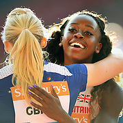 The IAAF Diamond League Sainsbury's Glasgow Grand Prix. Hampden Park, Glasgow, Scotland. . 4x100m Relay Women. Winners GB (A). Last over the line to win Desiree Henry. <br /> Picture Robert Perry EPA 11th July 2014