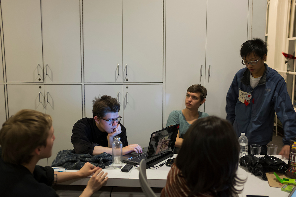 Students inside the office of Cooper Union's president, Jamshed Bharucha in New York, NY, on Thursday, May 9, 2013. Over 50 students began a sit-in Wednesday inside the office of the school's president, Jamshed Bharucha, calling for his resignation in protest of the end of free tuition at the school...Photograph by Andrew Hinderaker.