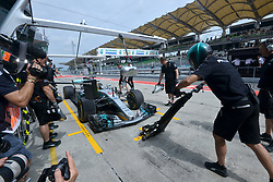 SEPANG, Sept. 29, 2017  Mercedes' British driver Lewis Hamilton drives into the pit during the second practice session of the Formula One Malaysia Grand Prix at the Sepang Circuit in Malaysia, on Sept. 29, 2017. (Credit Image: © Chong Voon Chung/Xinhua via ZUMA Wire)
